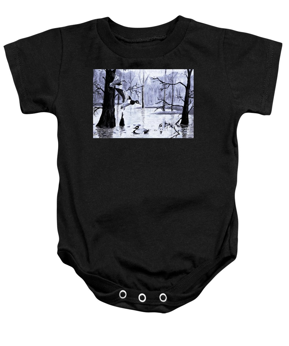 Winter Scene Baby Onesie featuring the painting A Winter Reunion by Hazel Holland
