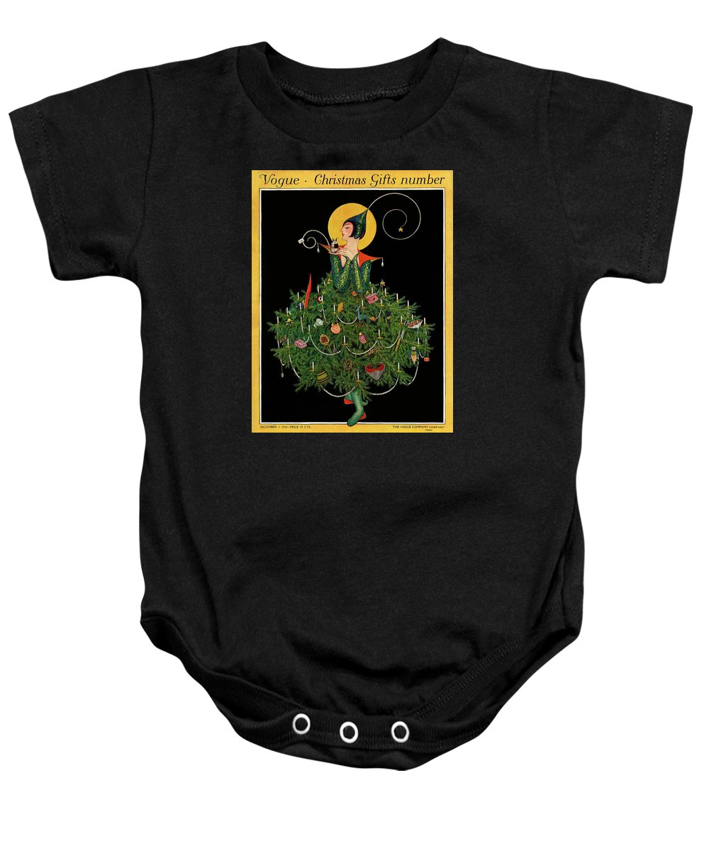 Illustration Baby Onesie featuring the painting A Woman Dressed As A Christmas Tree by Artist Unknown