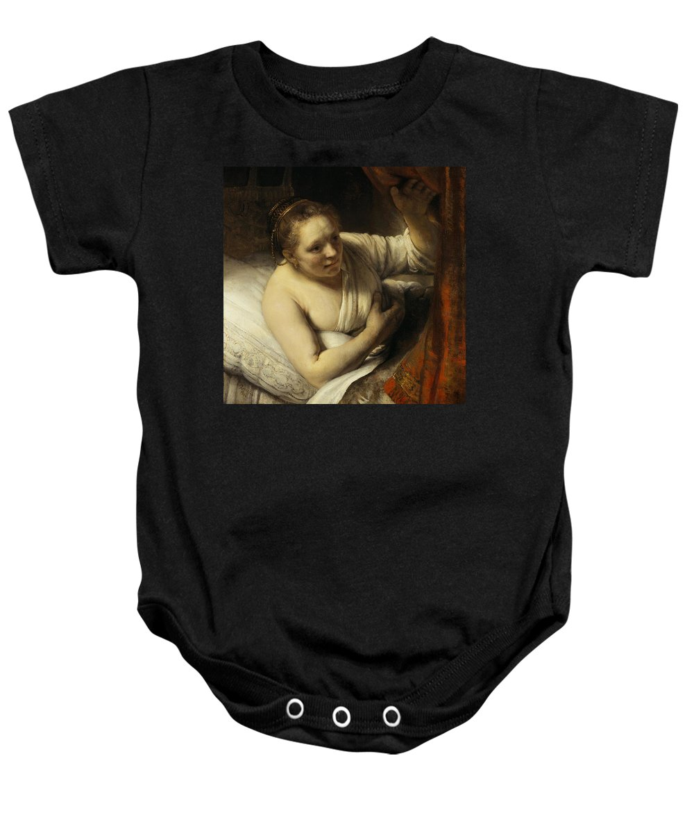 1645-1646 Baby Onesie featuring the painting A Woman In Bed by Rembrandt van Rijn