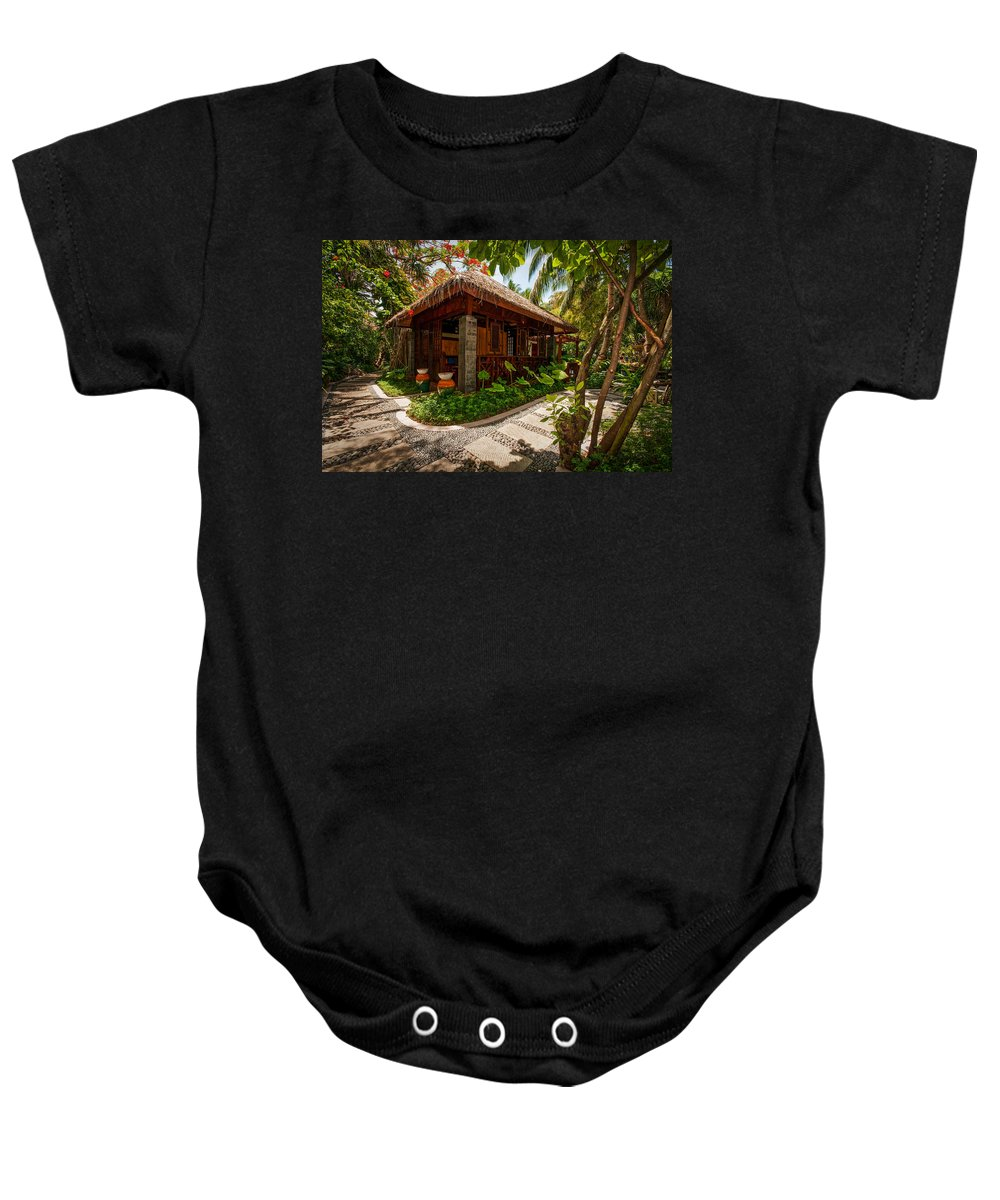 Resort Baby Onesie featuring the photograph Aaramu Spa Hideaway In Tropical Garden. Maldives by Jenny Rainbow