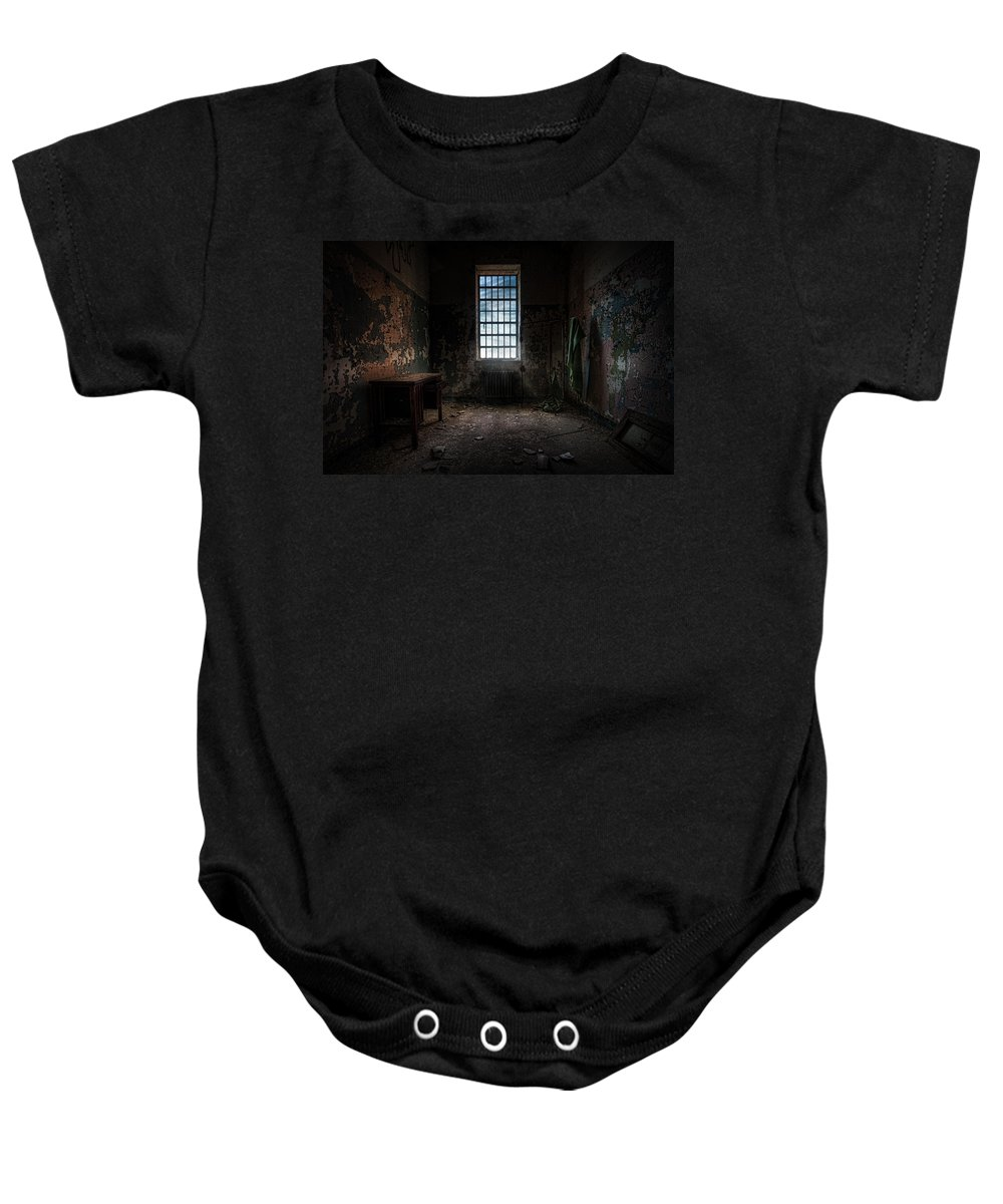 Windows Baby Onesie featuring the photograph Abandoned Building - Old Room - Room With A Desk by Gary Heller