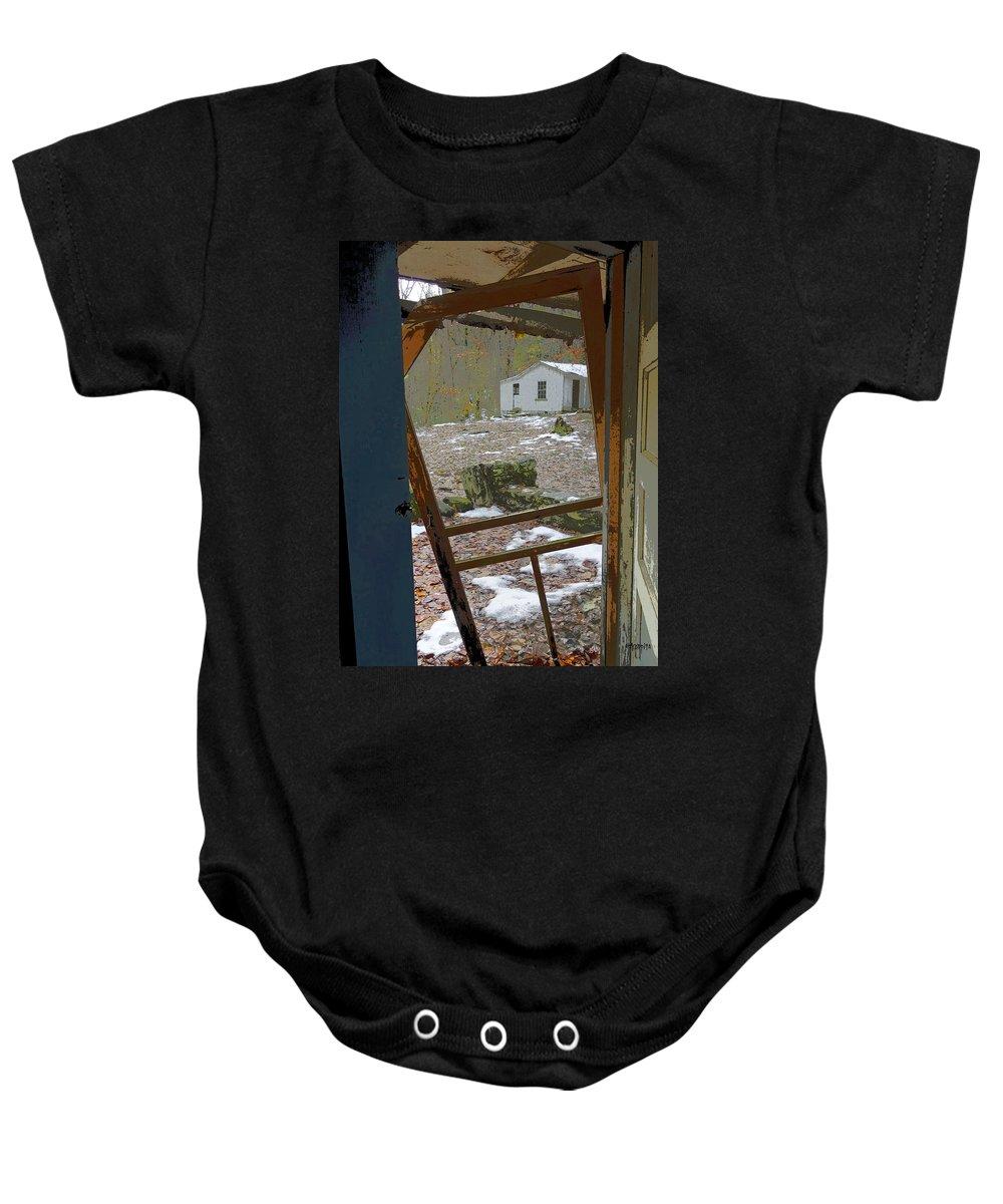 Abandoned Cabin Elkmont Baby Onesie featuring the photograph Abandoned Cabin Elkmont Smoky Mountains - Screened Door Old House by Rebecca Korpita
