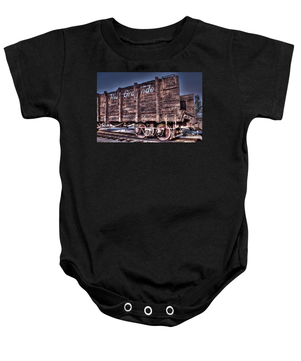 Train Car Baby Onesie featuring the photograph Abandoned Rio Grande by Tommy Anderson