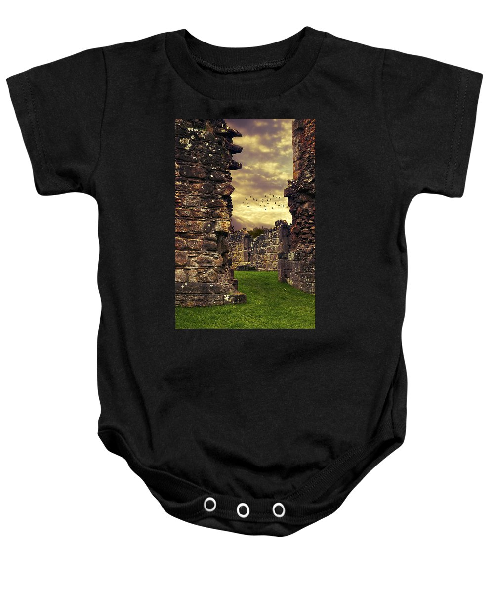 Abbey Baby Onesie featuring the photograph Abbey Ruins by Amanda Elwell