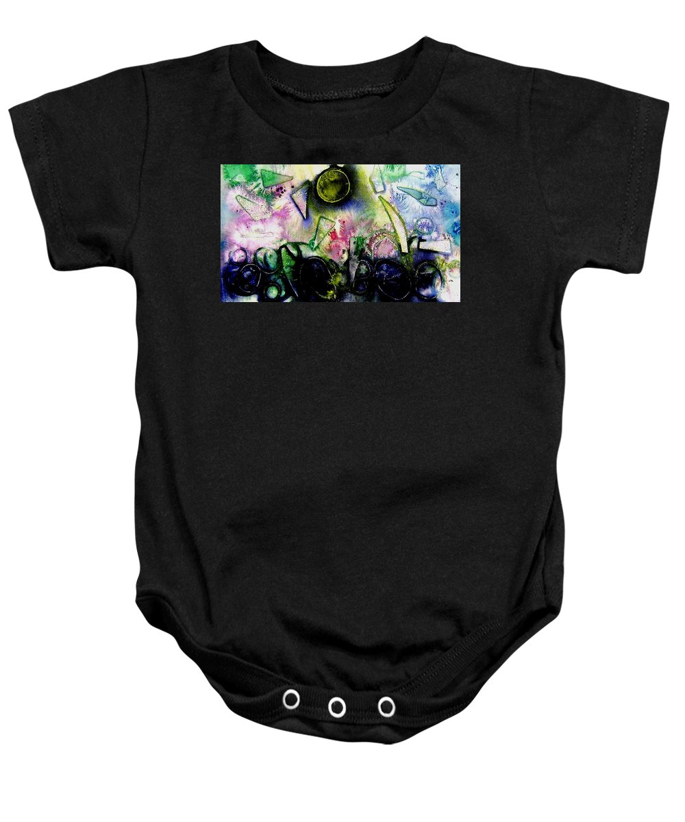 Abstract Baby Onesie featuring the mixed media Abstract Landscape II by John Nolan