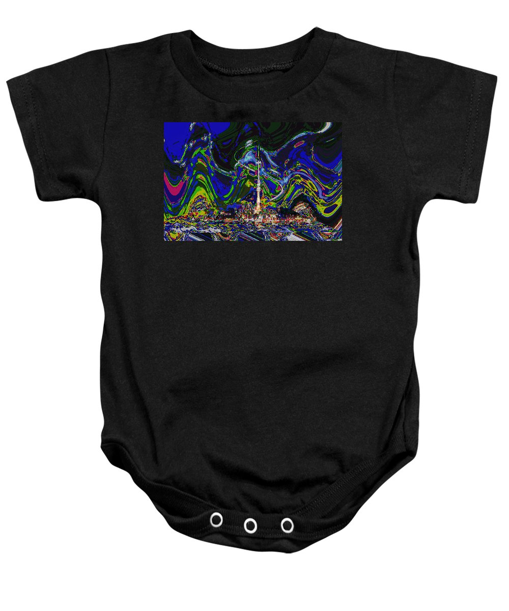 Galaxy Baby Onesie featuring the mixed media Abstract Some Where In Galaxy Light Years Away Launching A Satellite To Connect With The Earth by Navin Joshi