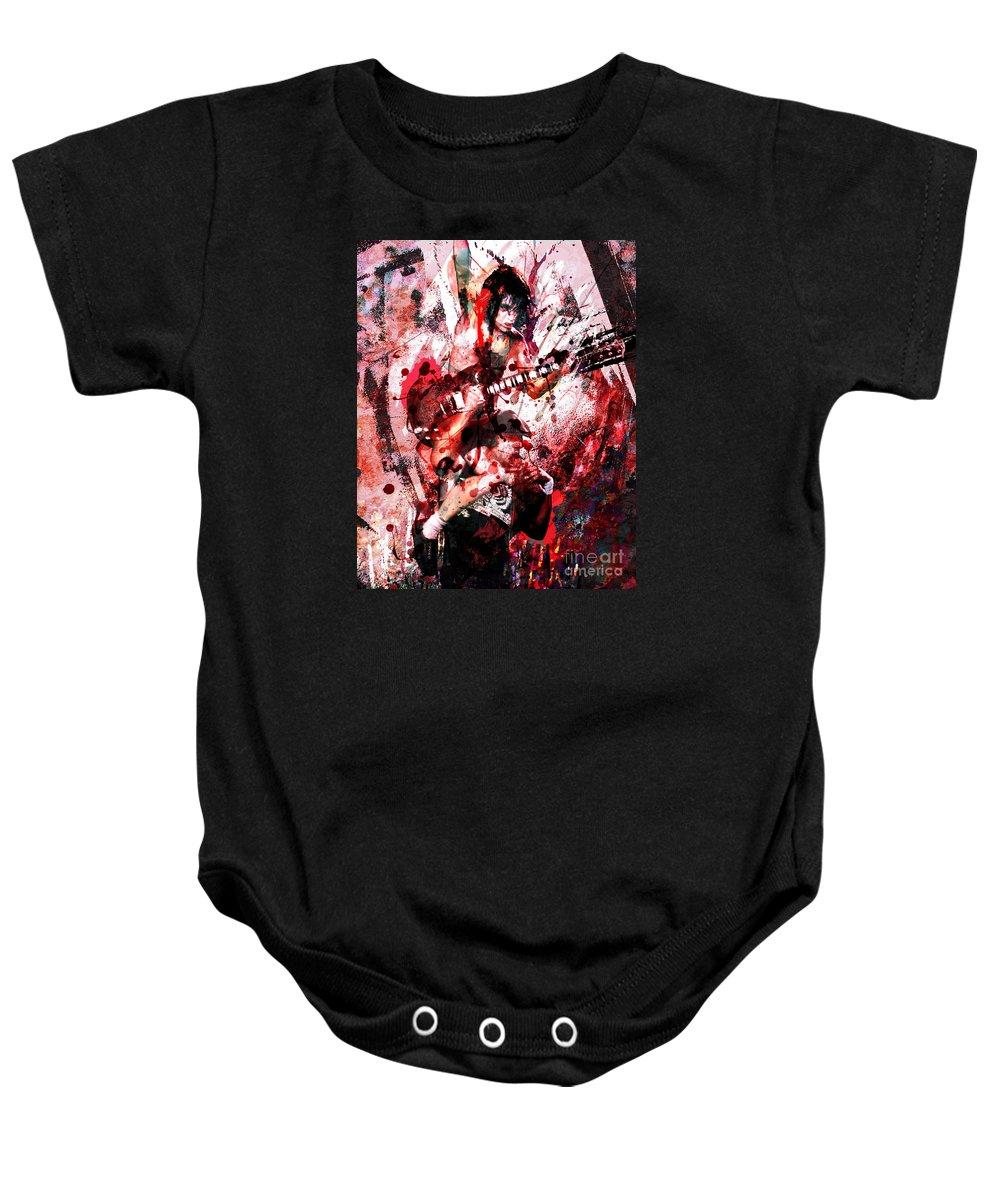 Rock N Roll Baby Onesie featuring the painting Ac Dc Original by Ryan Rock Artist