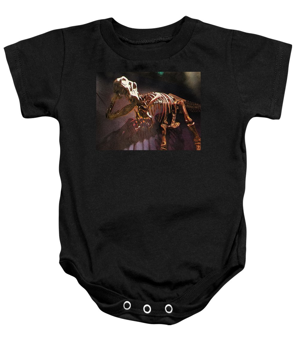Tyrannosaurus Baby Onesie featuring the digital art Adult T-rex Skeleton by Paul Gioacchini