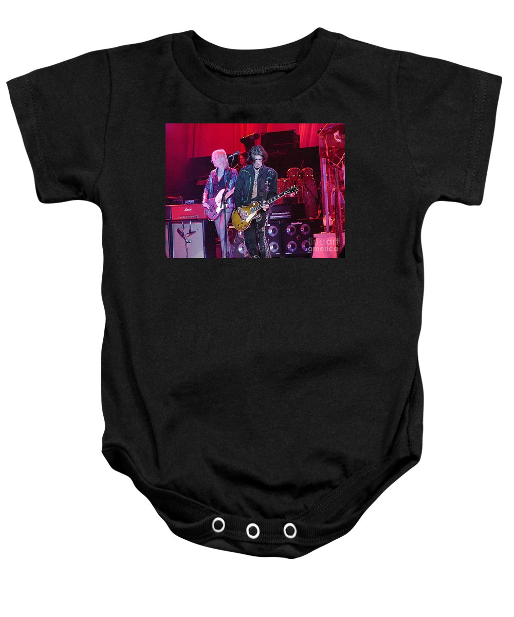 Aerosmith Baby Onesie featuring the photograph Aerosmith-joe Perry-00019-1 by Gary Gingrich Galleries