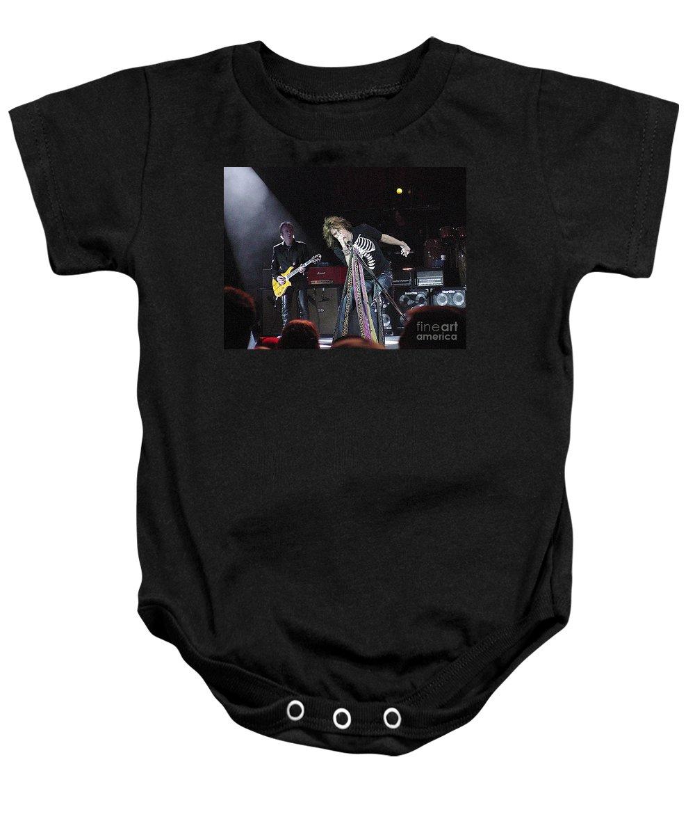 Aerosmith Baby Onesie featuring the photograph Aerosmith-steven Tyler-00160 by Gary Gingrich Galleries