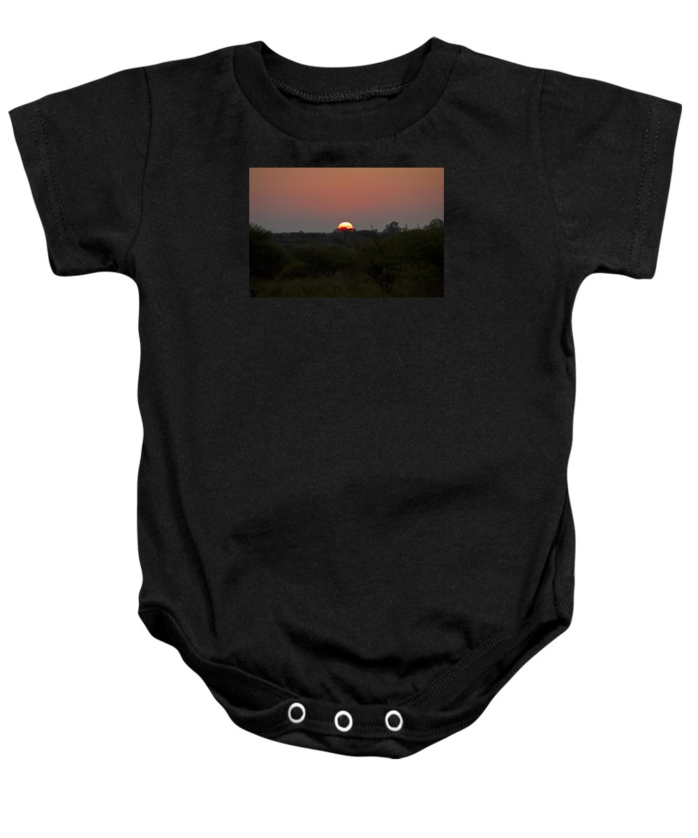 Sun Rise Baby Onesie featuring the photograph African Sunrise by John Stuart Webbstock