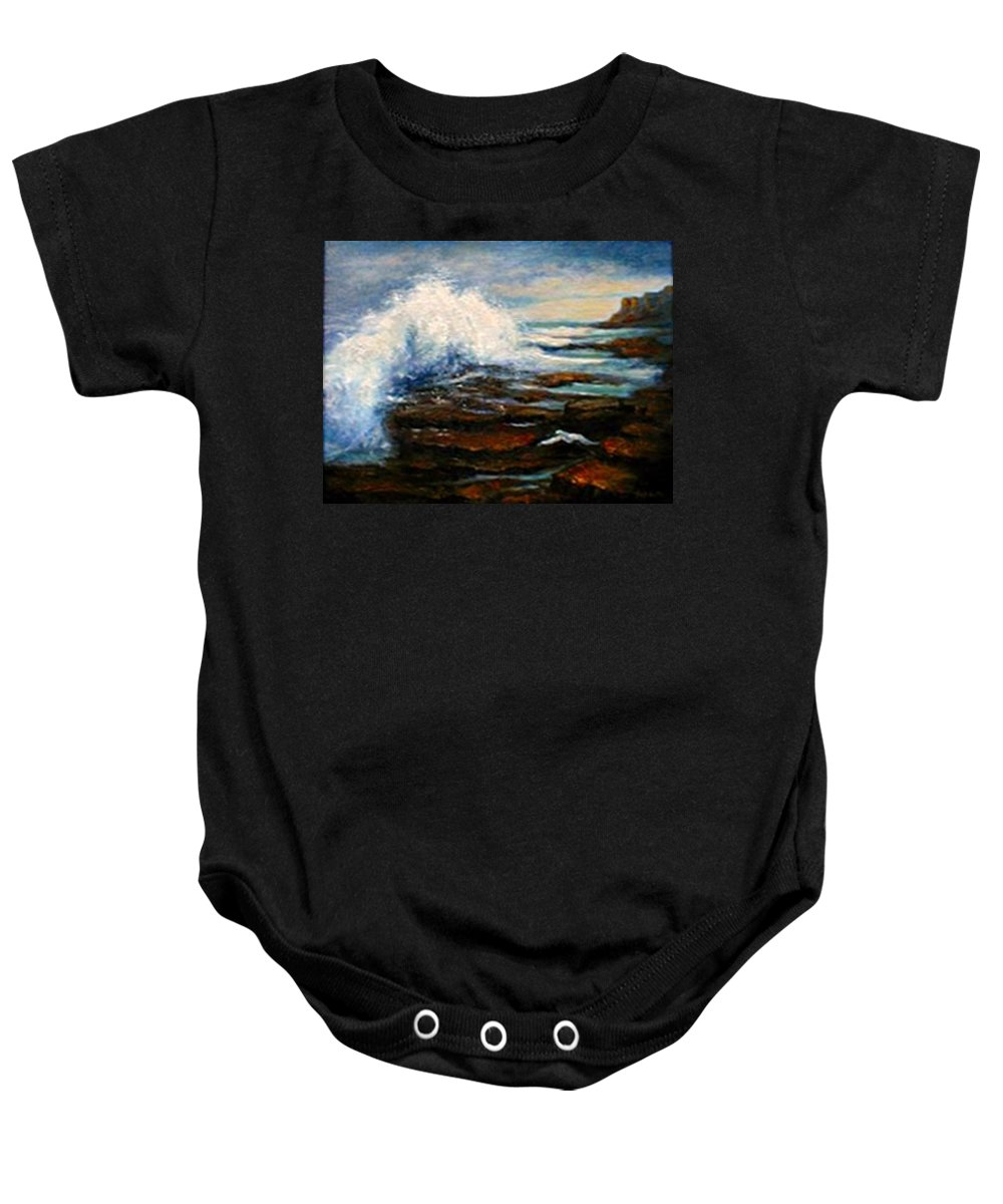 Seascape Baby Onesie featuring the painting After The Storm by Gail Kirtz