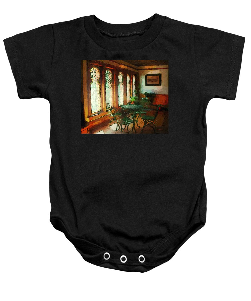 Cafe Baby Onesie featuring the painting Afternoon At Le Cafe Des Vignes by RC DeWinter