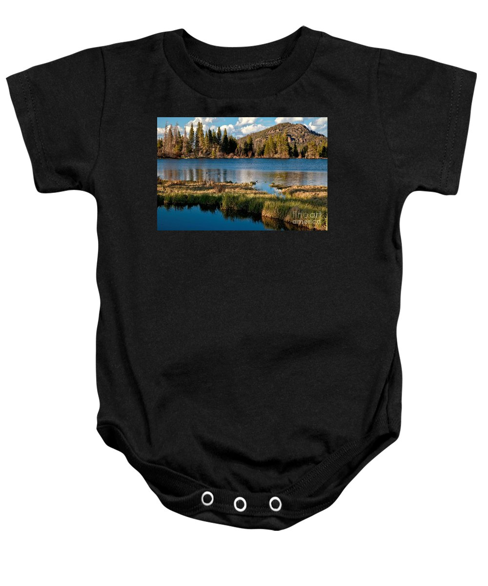Sprague Lake Baby Onesie featuring the photograph Afternoon At Sprague Lake by Adam Jewell