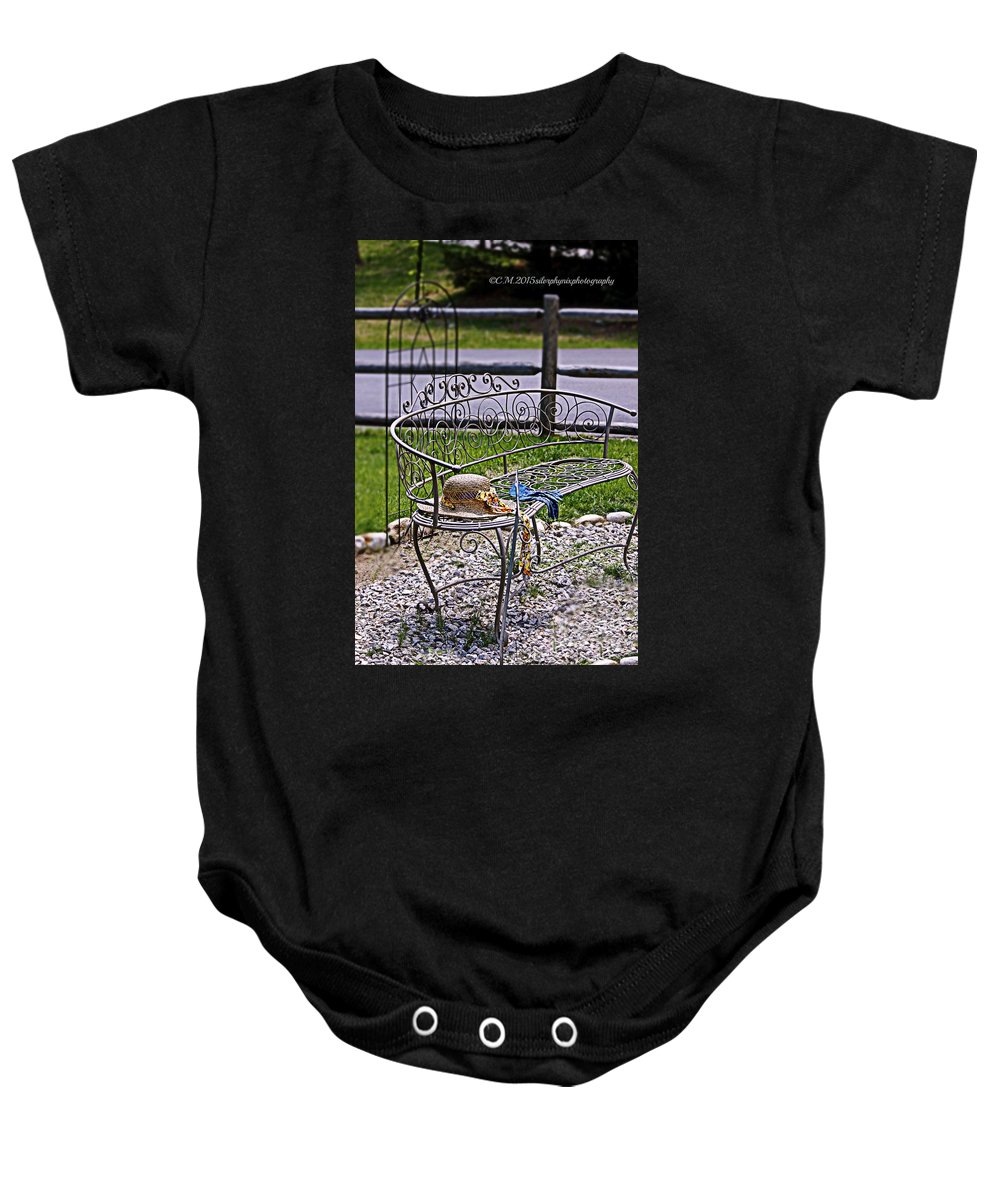 Wire Bench Baby Onesie featuring the photograph Air Of Elegance by Catherine Melvin