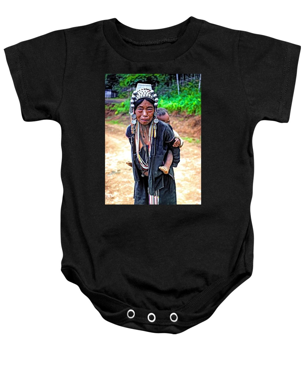 Hill Tribe Baby Onesie featuring the photograph Akha Tribe Paint Filter by Steve Harrington