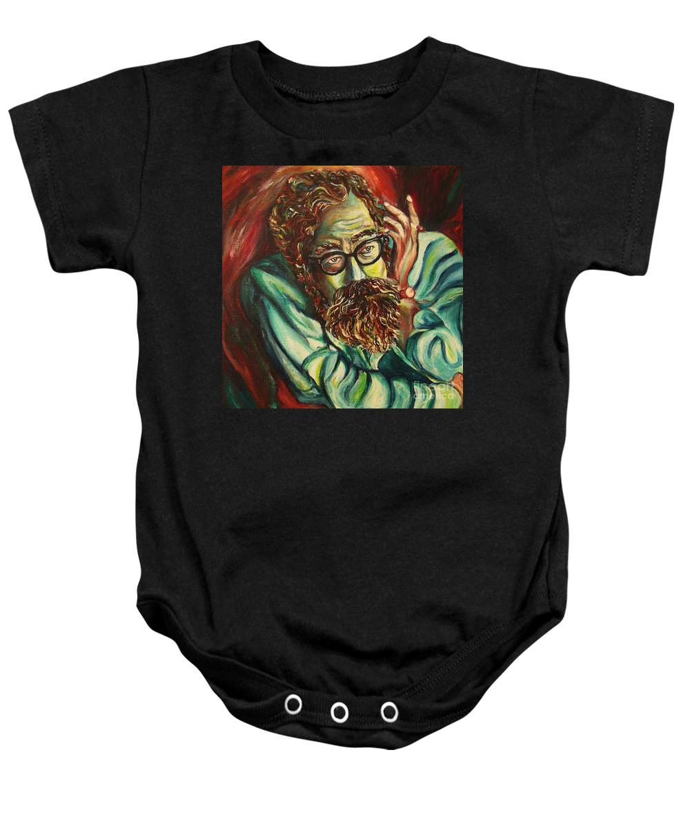 Allen Ginsberg Baby Onesie featuring the painting Alan Ginsberg Poet Philosopher by Carole Spandau