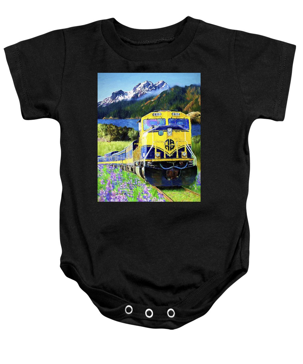 Railroad Baby Onesie featuring the painting Alaska Railroad by David Wagner