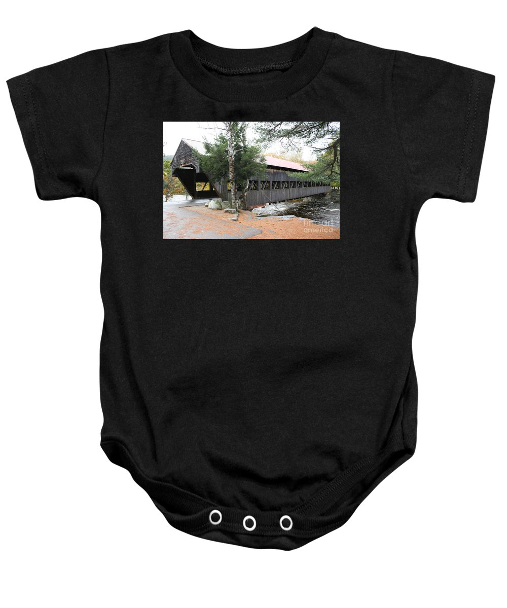 Covered Bridge Baby Onesie featuring the photograph Albany Covered Bridge by Christiane Schulze Art And Photography