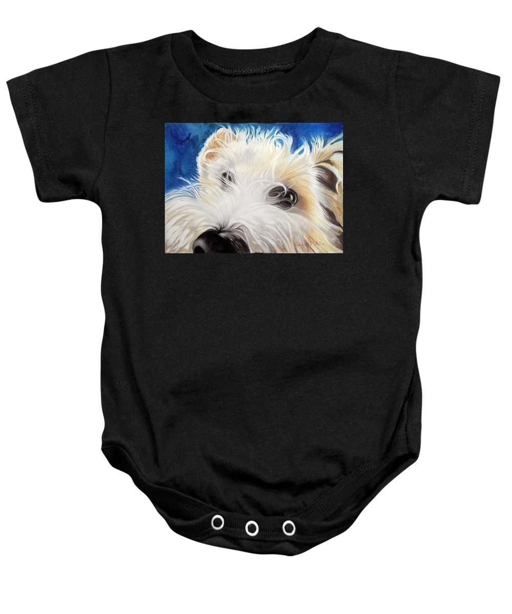 Art Baby Onesie featuring the painting Albus by Carolyn Coffey Wallace
