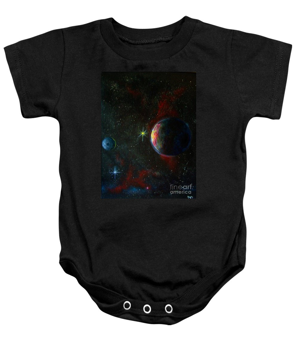 Cosmos Baby Onesie featuring the painting Alien Worlds by Murphy Elliott