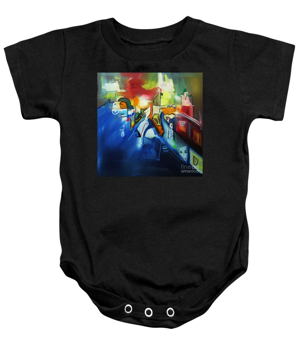 Colorful Baby Onesie featuring the painting All At Once by Jeff Barrett