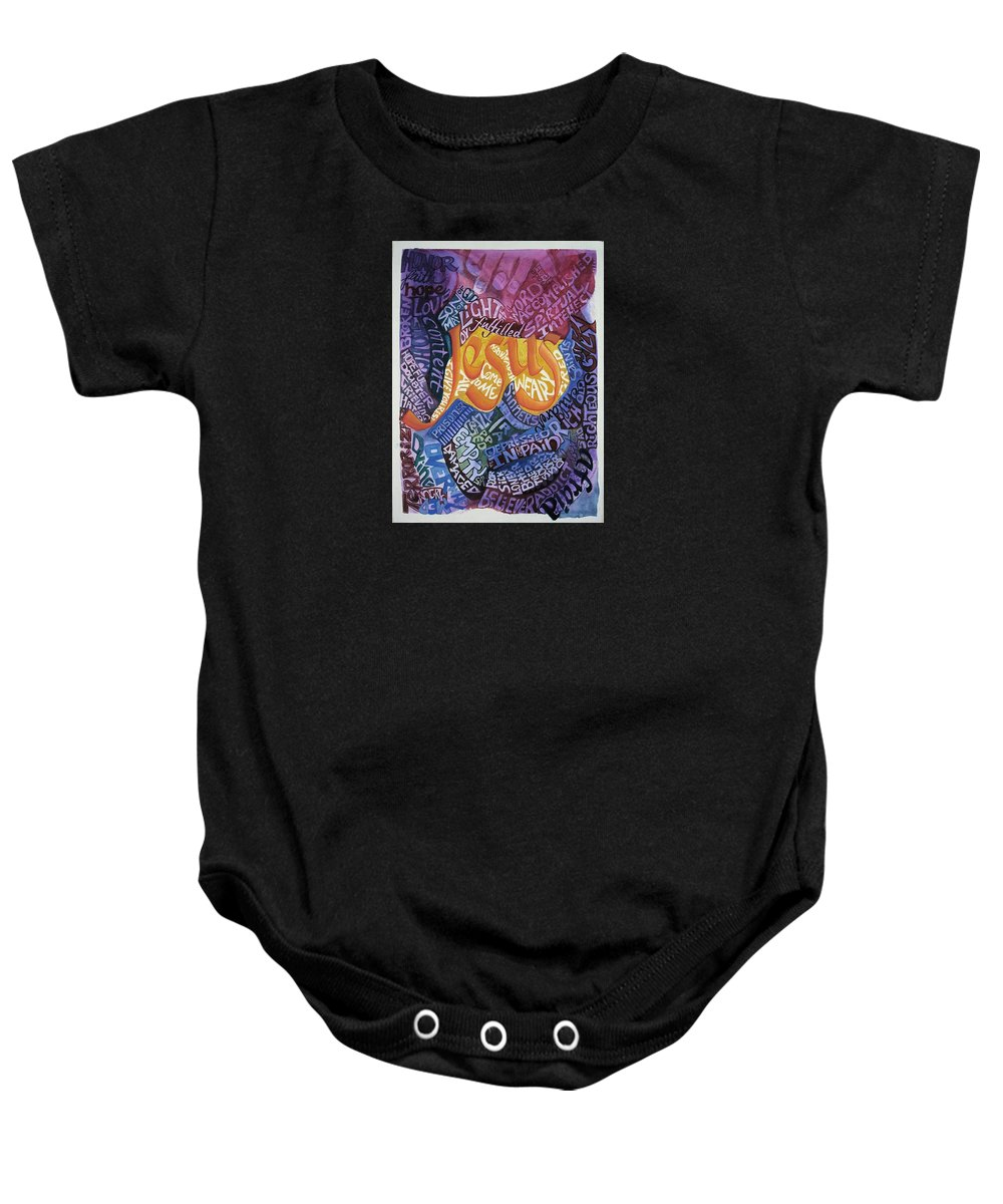 Calligraphy Baby Onesie featuring the painting All Come To Me by Barbara Beck-Azar