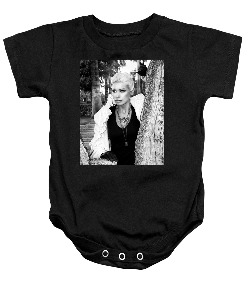 Blonde Baby Onesie featuring the photograph Allure Bw Palm Springs by William Dey