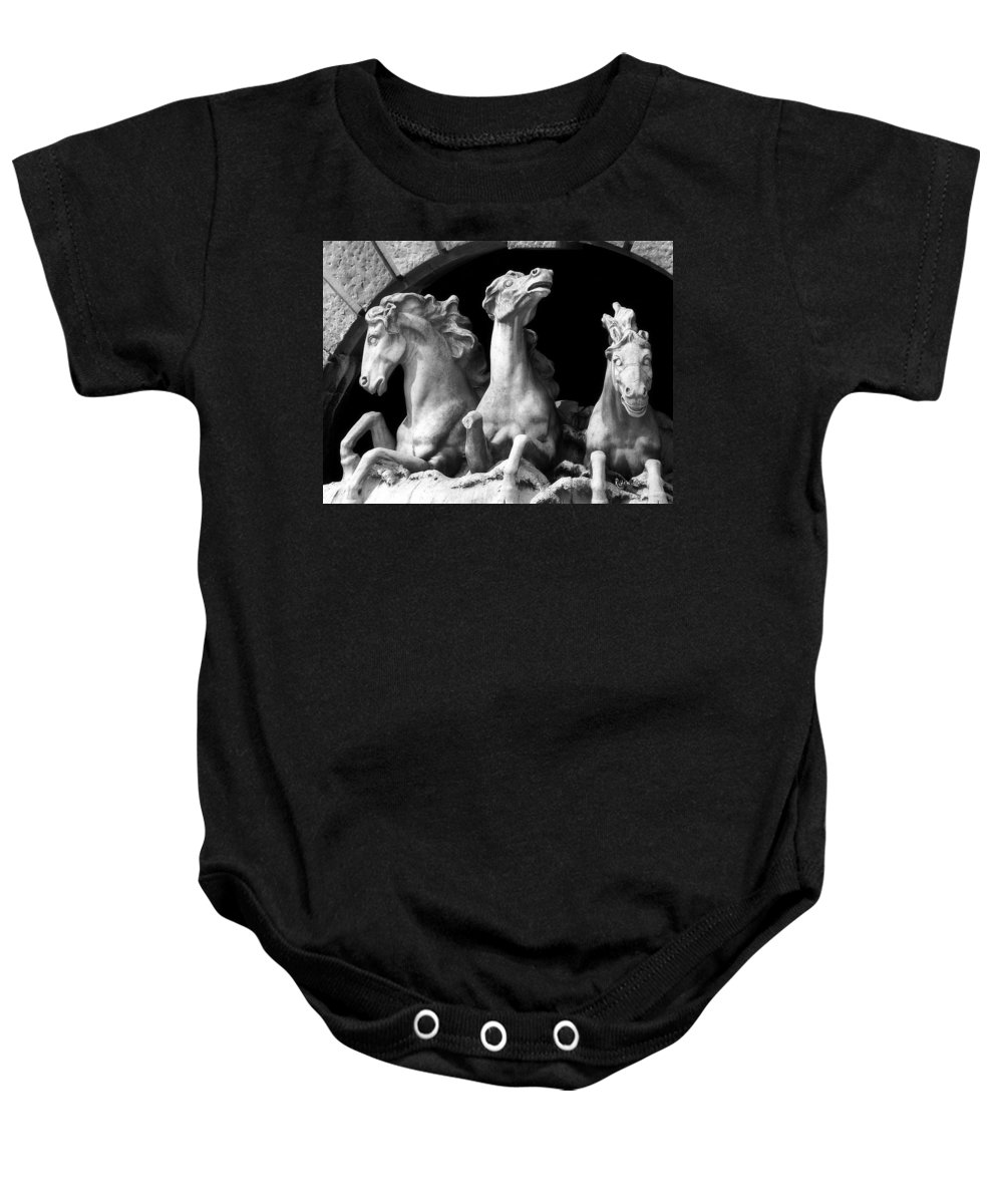 Sculpture Baby Onesie featuring the pyrography Almost Perfect by RC DeWinter