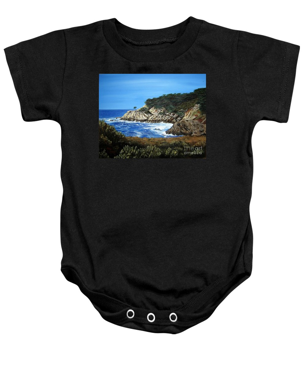 Landscape Baby Onesie featuring the painting Along The California Coast by Mary Rogers