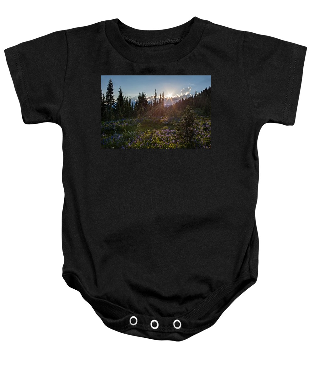 Rainier Baby Onesie featuring the photograph Alpine Meadow Sunrays by Mike Reid