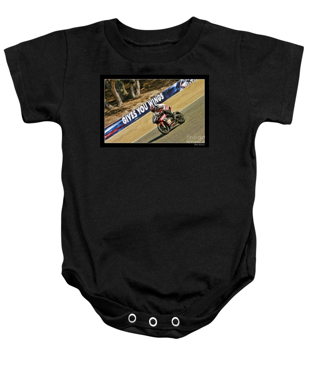 Ama Superbike Baby Onesie featuring the photograph Ama Superbike Cory West by Blake Richards