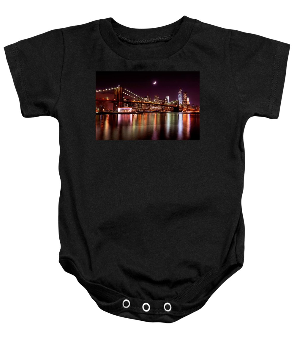 America Baby Onesie featuring the photograph Amazing New York Skyline And Brooklyn Bridge With Moon Rising by Mitchell R Grosky