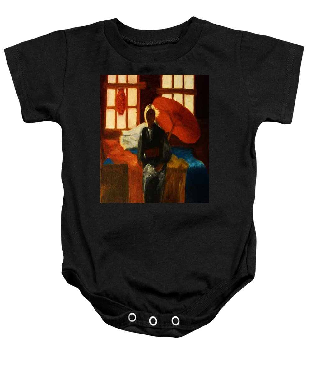 Geisha Baby Onesie featuring the painting Ambiguity by Crystal Menicola