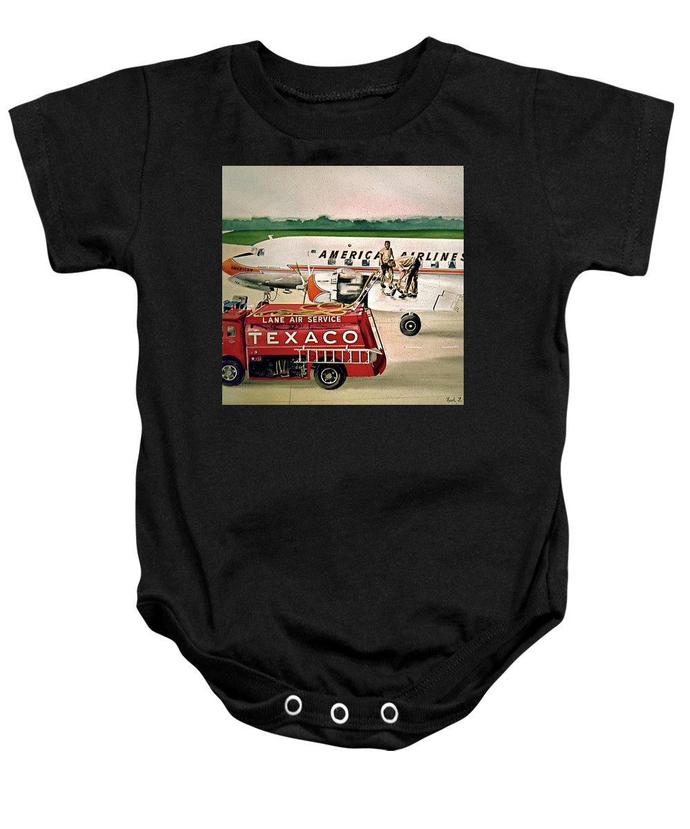 American Airlines Airplane Texaco Gas Truck Refueling Columbus Dc-6 Ramp Baby Onesie featuring the painting American Dc-6 At Columbus by Frank Hunter