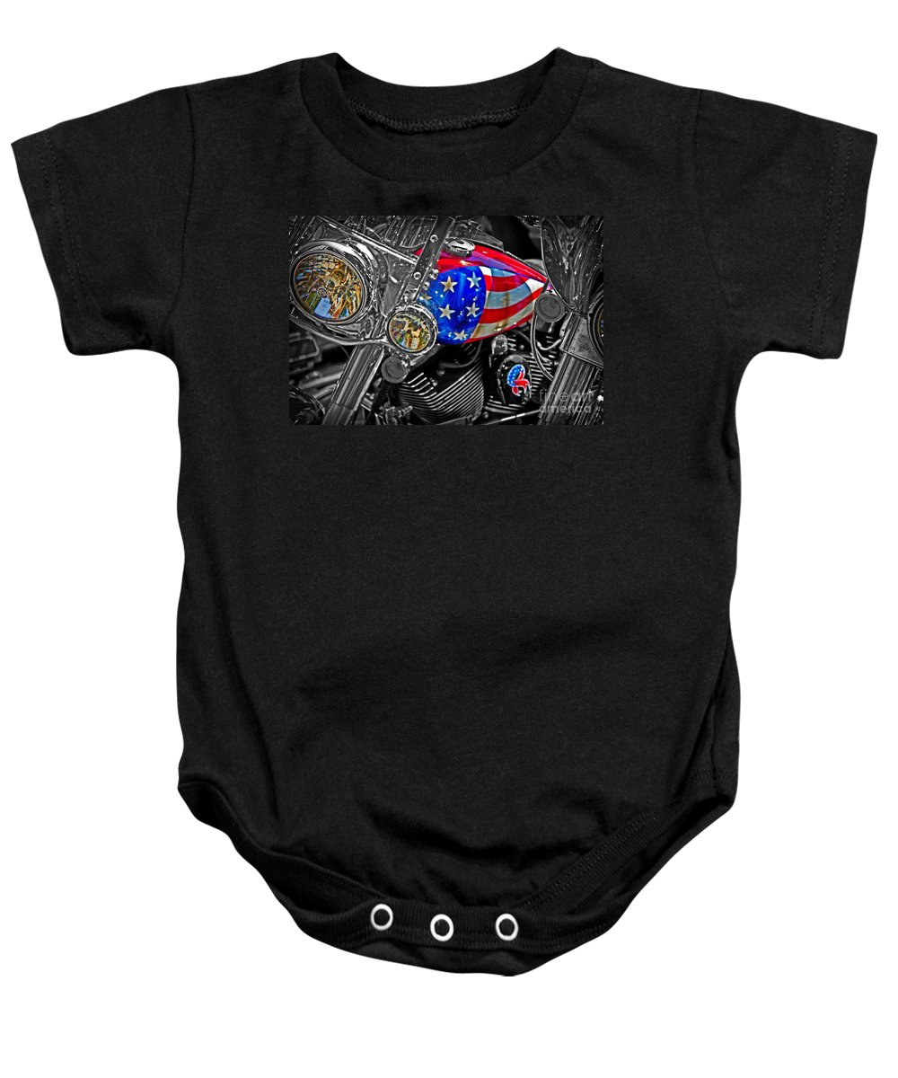 Patriotic Baby Onesie featuring the photograph American Ride by Tom Gari Gallery-Three-Photography