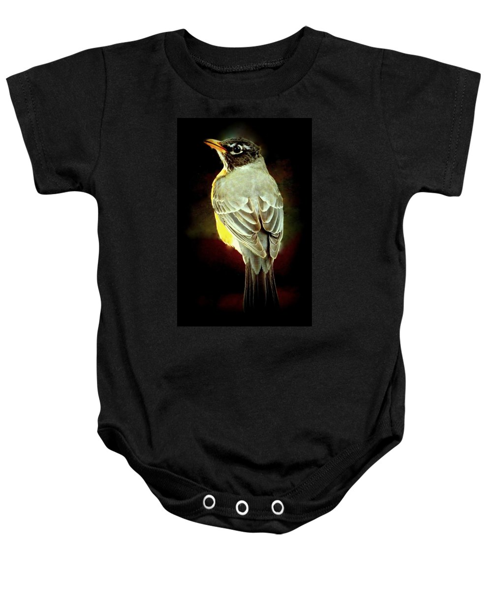 Birds Baby Onesie featuring the photograph American Robin by Karen Wiles