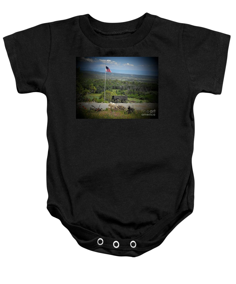 Usa Baby Onesie featuring the photograph American Wagon by Brandi Maher