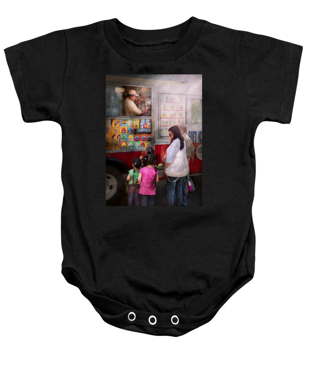 Ice Cream Baby Onesie featuring the photograph Americana - Vendor - Serving Chocolate Ice Cream by Mike Savad