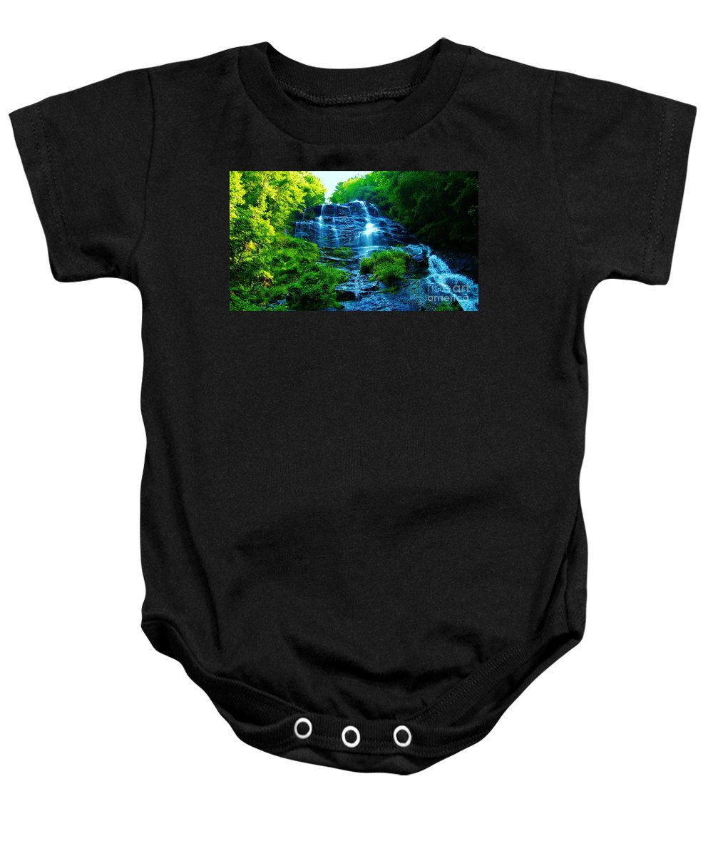 Keri West Baby Onesie featuring the photograph Amicalola Cascades by Keri West