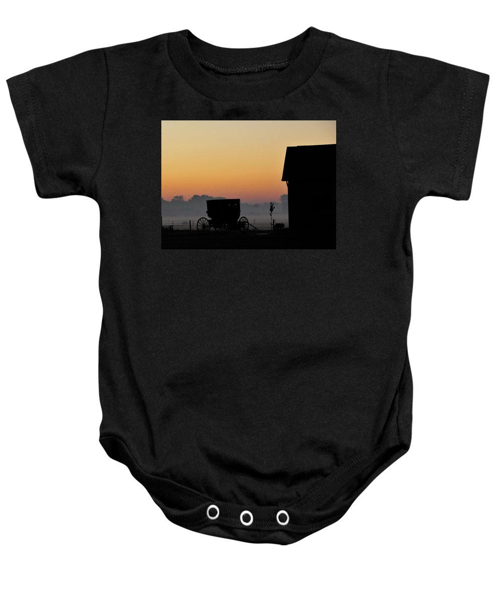 Amish Buggy Baby Onesie featuring the photograph Amish Buggy Before Dawn by David Arment