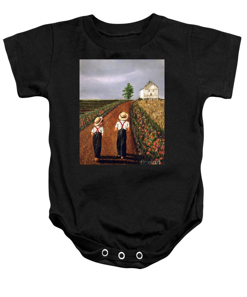 Lifestyle Baby Onesie featuring the painting Amish Road by Linda Simon