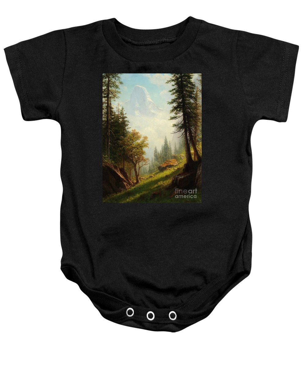 Silhouette Baby Onesie featuring the painting Among The Bernese Alps by Celestial Images