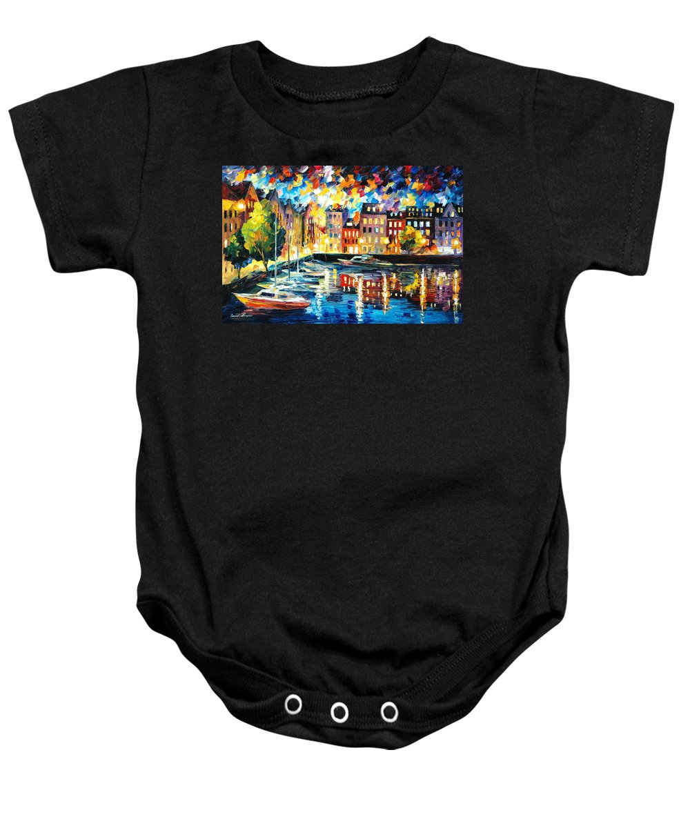 Oil Paintings Baby Onesie featuring the painting Amsterdam's Harbor - Palette Knife Oil Painting On Canvas By Leonid Afremov by Leonid Afremov