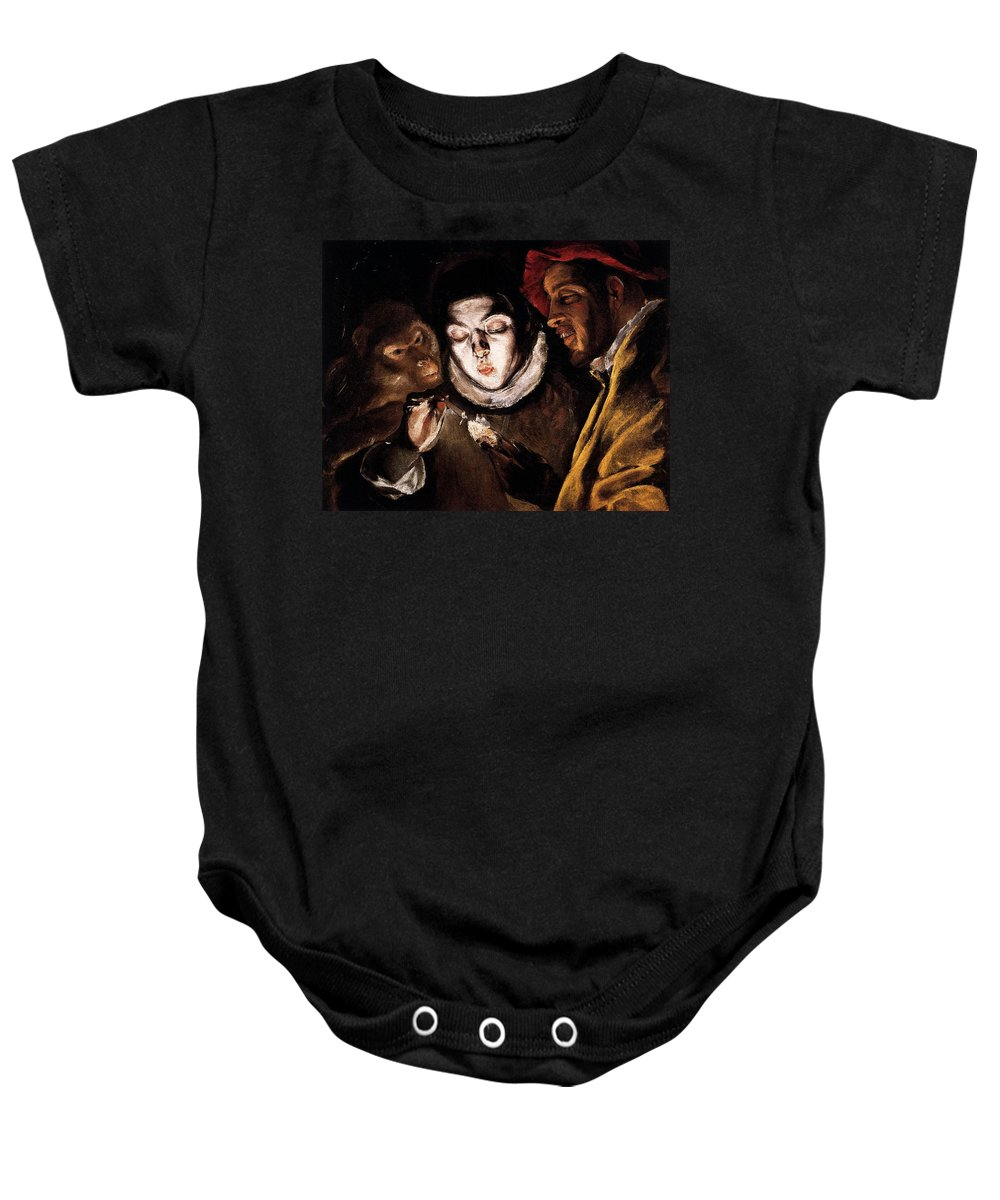 El Greco Baby Onesie featuring the painting An Allegory With A Boy Lighting A Candle In The Company Of An Ape And A Fool by El Greco