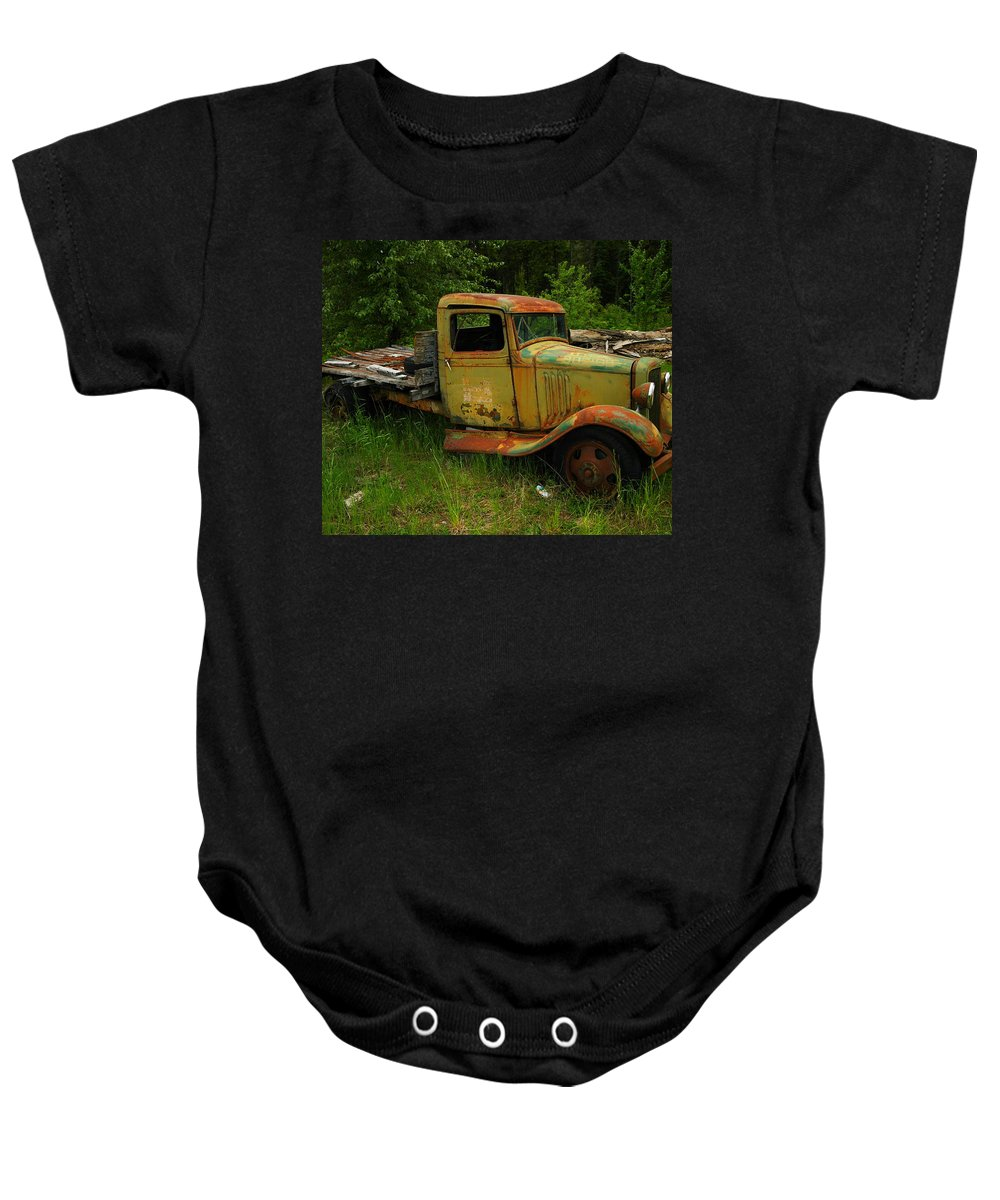Trucks Baby Onesie featuring the photograph An Old Flatbed by Jeff Swan
