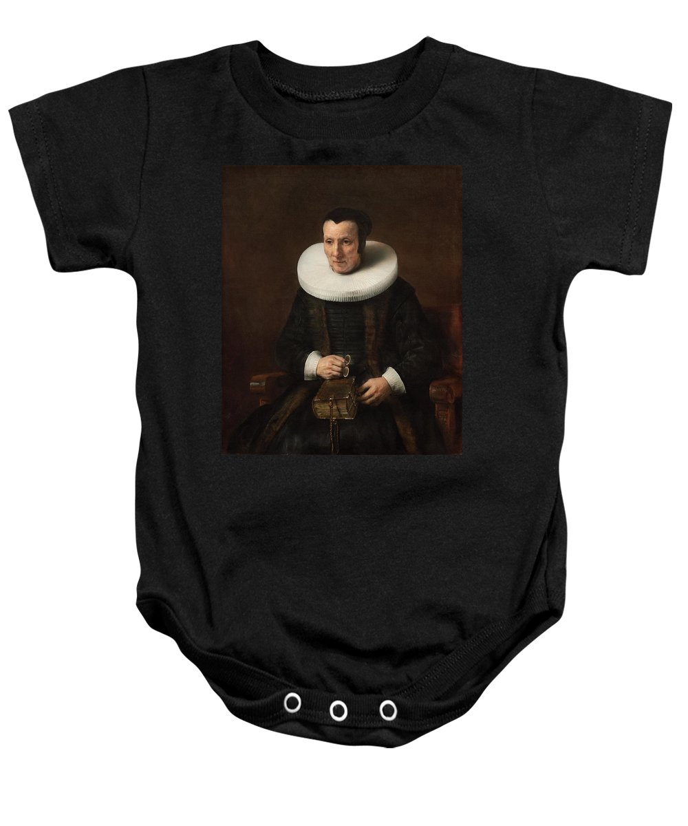 1637 Baby Onesie featuring the painting An Old Lady With A Book by Rembrandt van Rijn