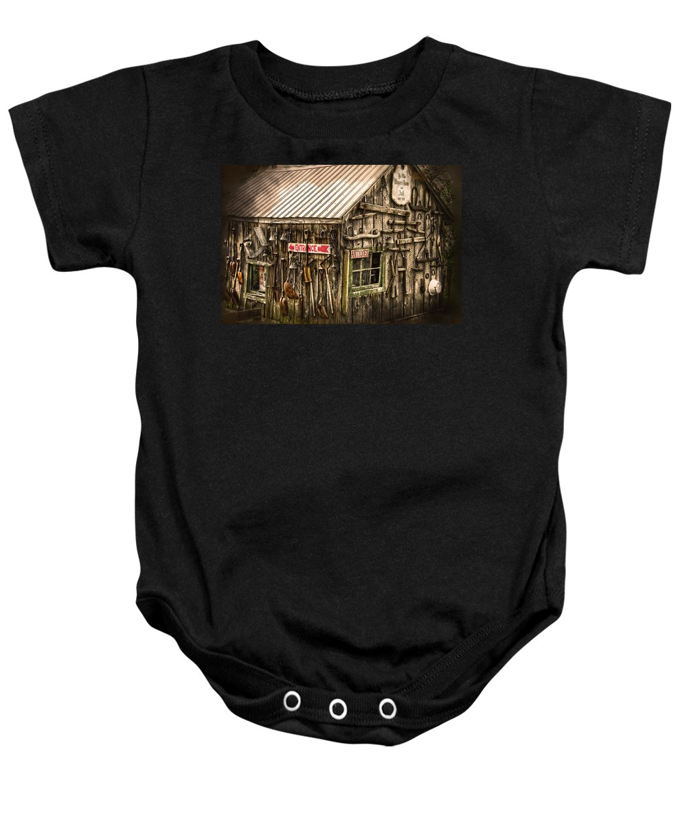 Old Tool Shed Baby Onesie featuring the photograph An Old Tool Shed by Randall Branham
