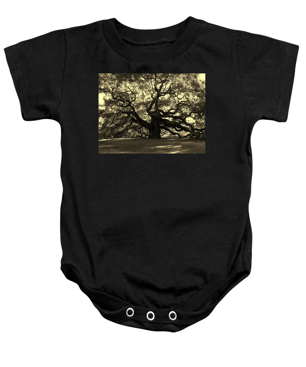 Angel Oak Baby Onesie featuring the photograph Angel Oak Tree Sepia by Susanne Van Hulst