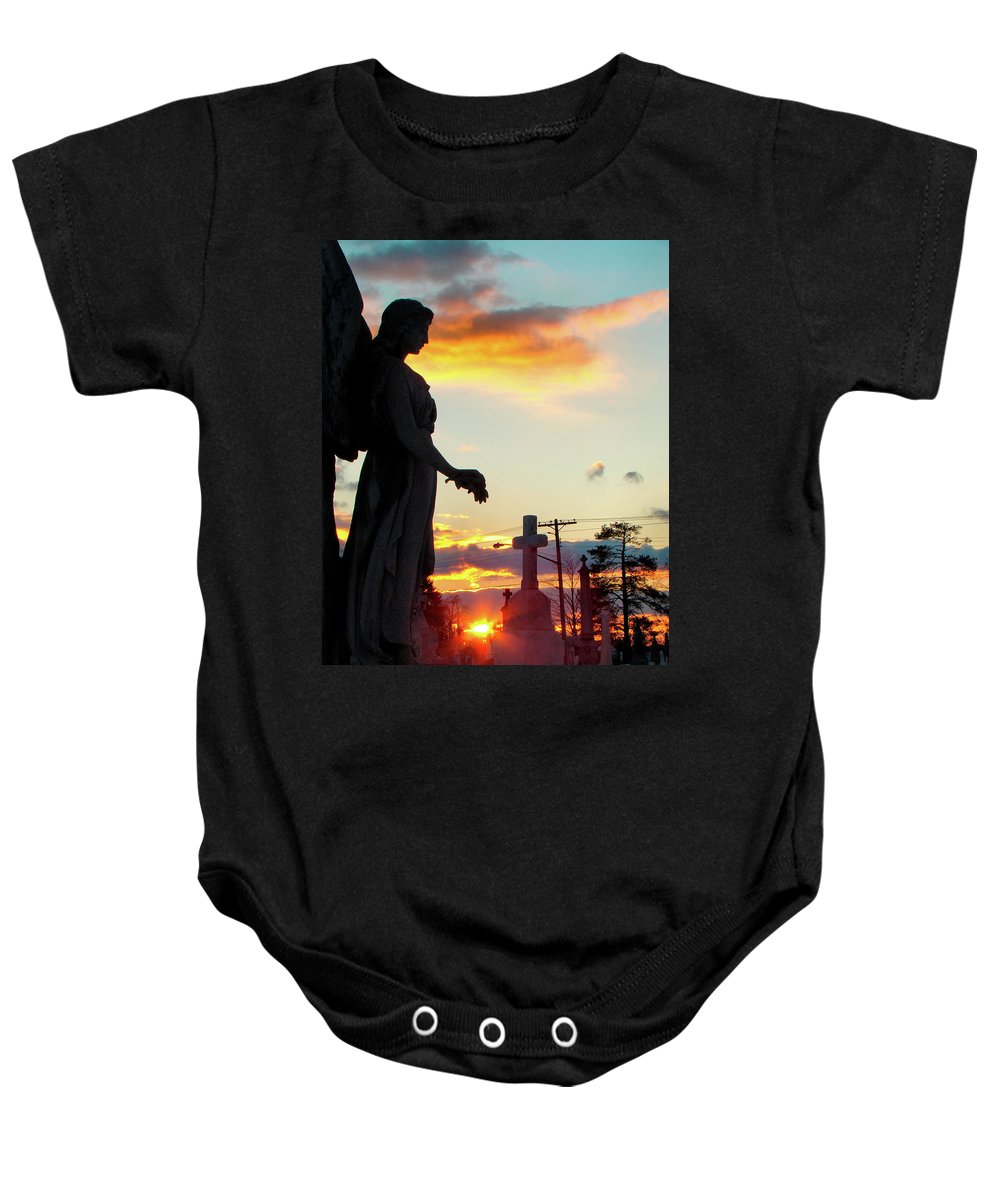 Silhouette Baby Onesie featuring the photograph Angel Silhouette In Burst Of Colors by Gothicrow Images
